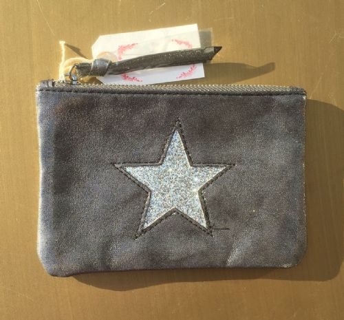 Faux Suede Star Purse/Make Up Bag - Grey